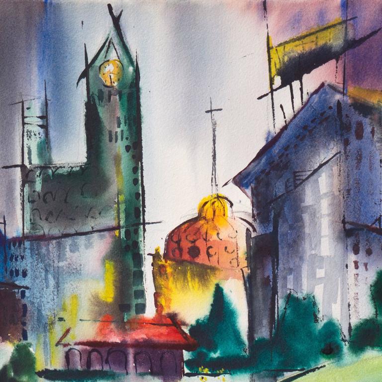 Modernist Illinois Cityscape, 'Lakeshore, Chicago', California Woman Artist For Sale 2