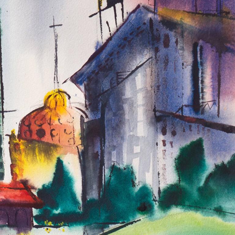 Modernist Illinois Cityscape, 'Lakeshore, Chicago', California Woman Artist For Sale 3