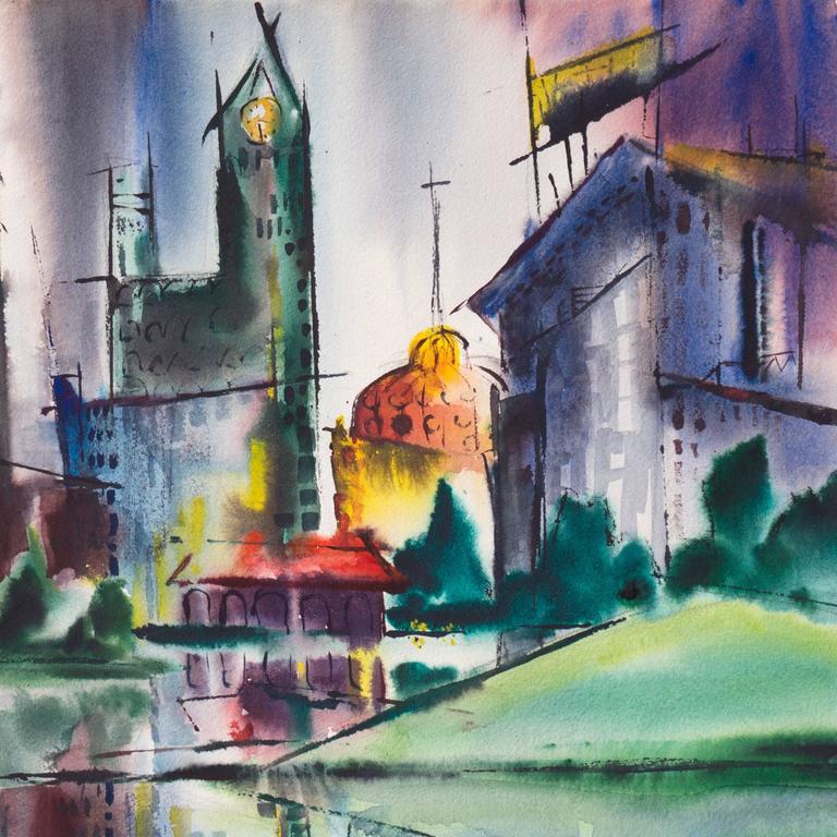 Modernist Illinois Cityscape, 'Lakeshore, Chicago', California Woman Artist For Sale 1