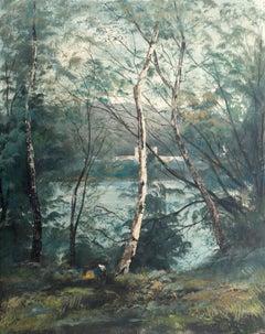 Romantic Italianate Landscape with Birch Trees