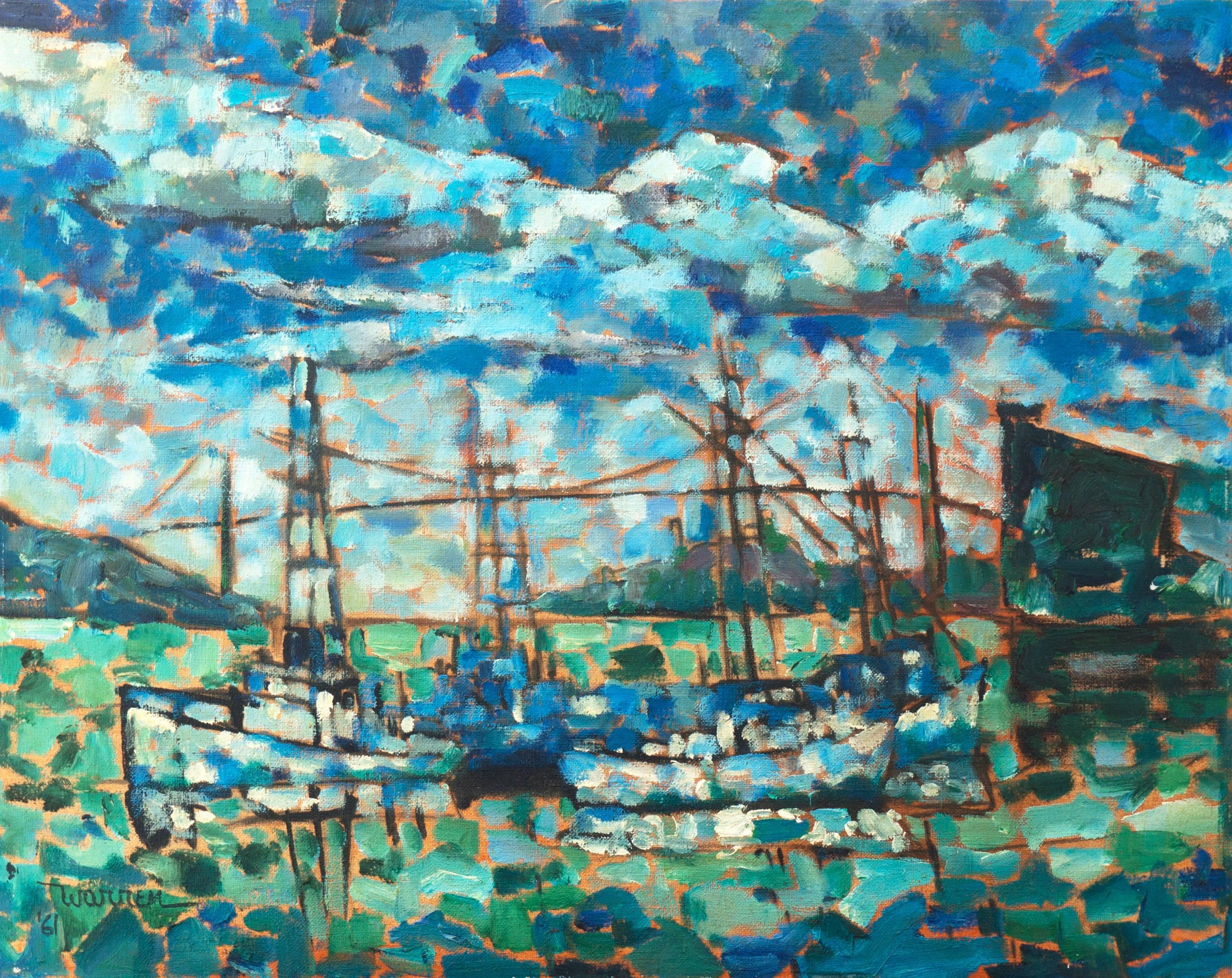 'Fishing Boats beneath the Golden Gate', FRSA, California Post-Impressionist oil
