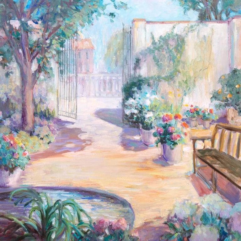'Private Garden', Large American Impressionist oil, Hawaii, Australia, Seattle - Painting by Loraine Balsillie