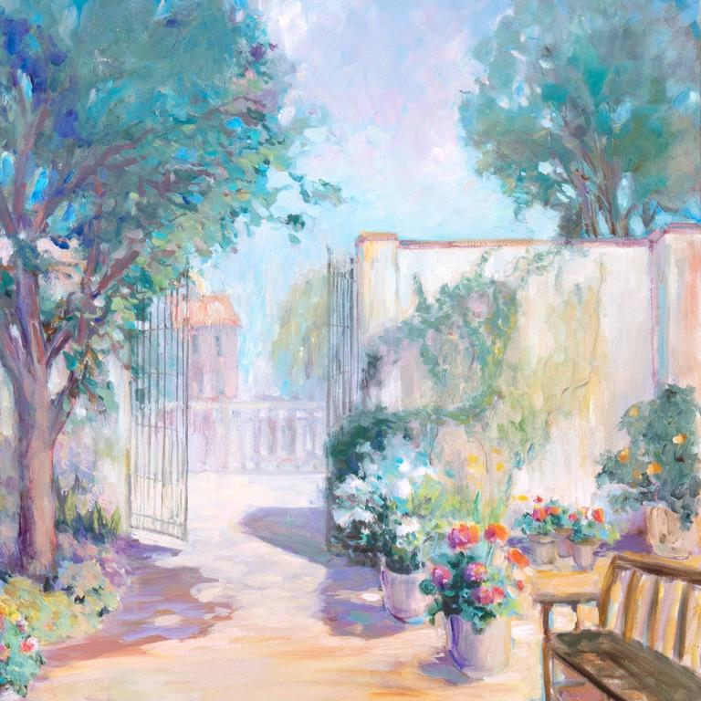 'Private Garden', Large American Impressionist oil, Hawaii, Australia, Seattle - Gray Landscape Painting by Loraine Balsillie