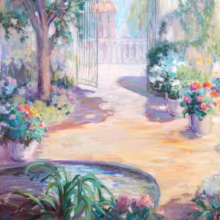 A substantial oil landscape showing a view of a sunlit courtyard with a fountain and blossoming perennials in earthenware pots, and a view beyond towards a neo-classical villa.  Signed lower right,
