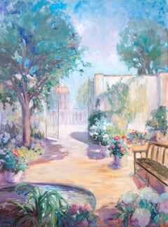 American Impressionist oil, 'Private Garden'