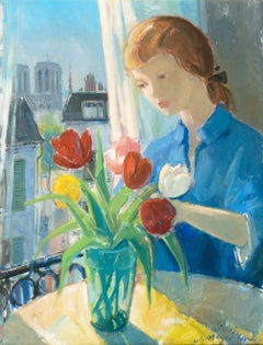 Young Woman arranging Tulips with a View of Notre Dame and Paris