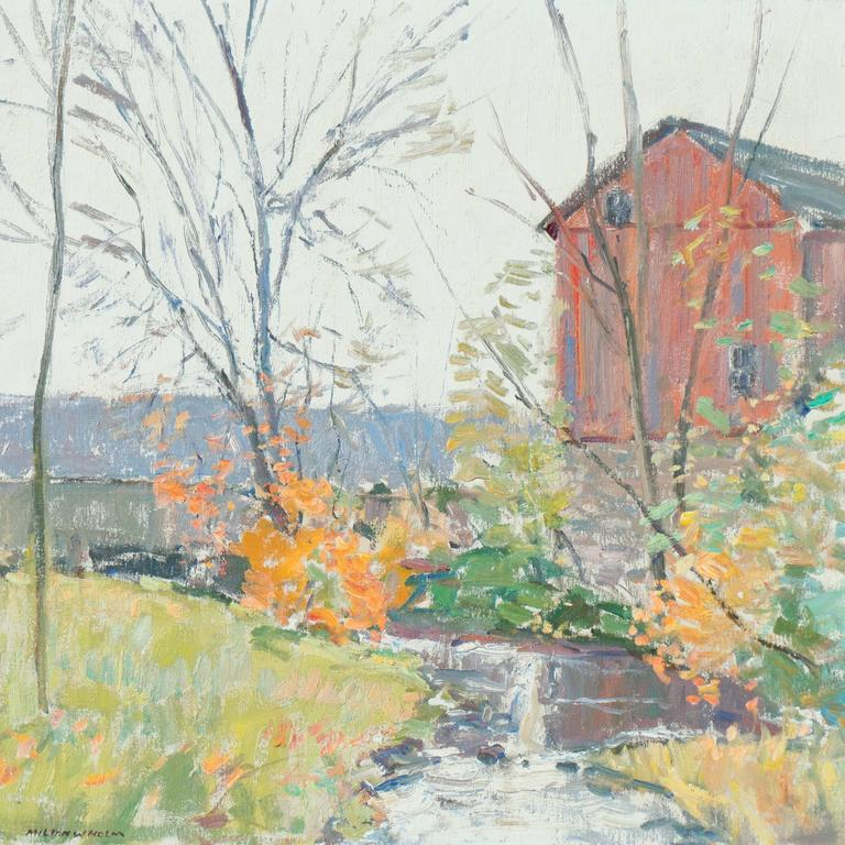 Signed lower left, 'Milton Holm' and painted circa 1960.  This notable American Impressionist was a long-time member of the Rochester Art Club and served as president of the Genesee Group of Painters. The Genesseeans sought to capture the Spirit of