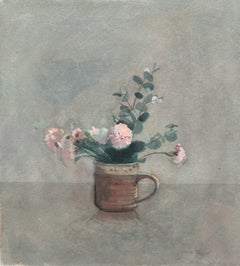 Impressionist watercolor, 'Still Life of Pink Carnations', British Woman artist