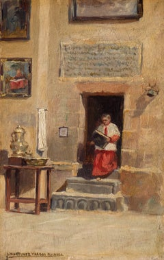 Early twentieth-century Oil of an Altar Boy entering a Catholic Church