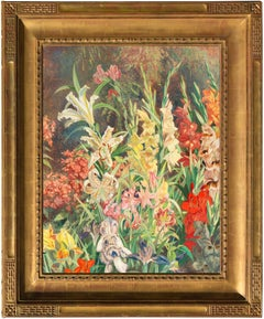 Horticultural oil of the Artist's Garden with Lupins, Irises, Gladioli & Lilies