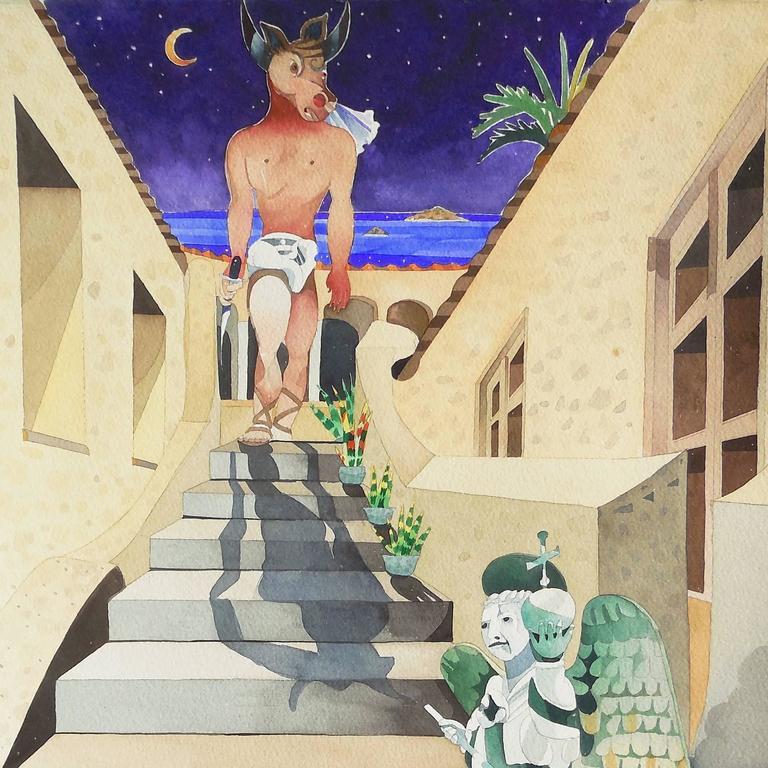 'Minotaur Descending', California woman artist, - Painting by Vanessa Stafford