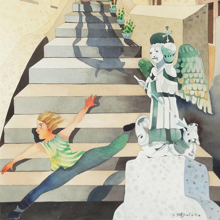 'Minotaur Descending', California woman artist, - Beige Figurative Painting by Vanessa Stafford