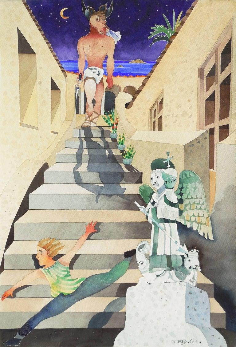 Vanessa Stafford Figurative Painting - 'Minotaur Descending', California woman artist,
