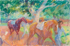 'Race Horses in the Paddock', Impressionist Equestrian oil by California artist