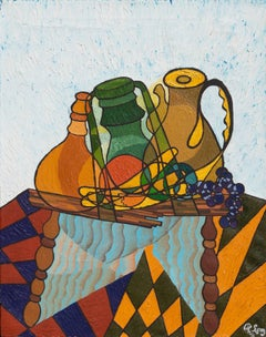 'Still Life with Carafe', Cubist derived, Modernist oil Still Life