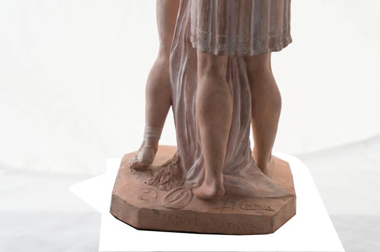 'The Kiss', Petit Palais, Paris, Neo-classical Terracotta Figurative Statue  For Sale 3