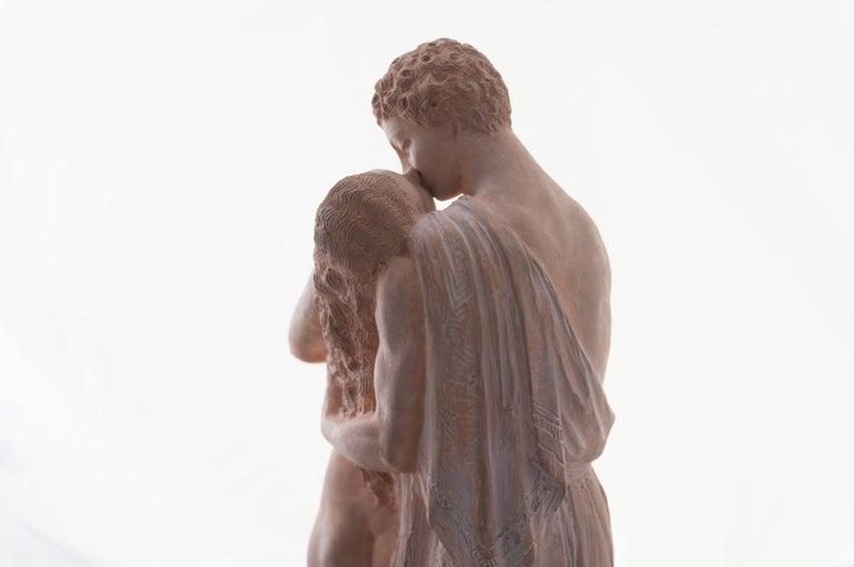 'The Kiss', Petit Palais, Paris, Neo-classical Terracotta Figurative Statue  - Romantic Sculpture by Joseph J Emmanuel Cormier