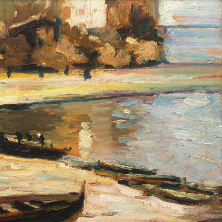 'Fishing Boats on the Beach', Impressionist Oil, Charles Durand-Ruel, Paris  - Brown Landscape Painting by French School