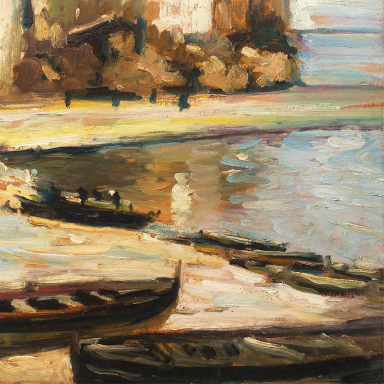 'Fishing Boats on the Beach', Impressionist Oil, Charles Durand-Ruel, Paris  For Sale 1