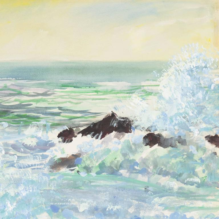 'Breaking Surf, San Diego', Worcester Art Museum School, San Bernadino College - Painting by Richard Gabriel Chase