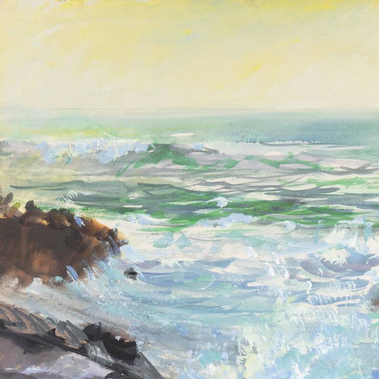 'Breaking Surf, San Diego', Worcester Art Museum School, San Bernadino College - American Impressionist Painting by Richard Gabriel Chase