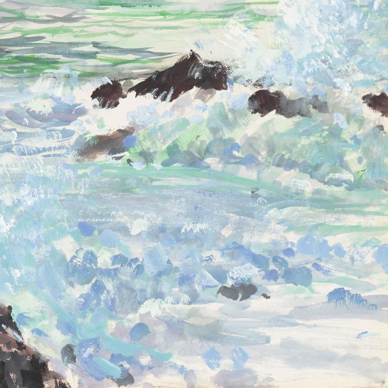 'Breaking Surf, San Diego', Worcester Art Museum School, San Bernadino College - Gray Landscape Painting by Richard Gabriel Chase