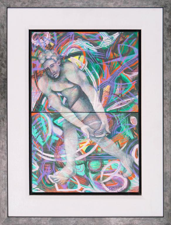 Man In Motion   (framed, Modernist figural by woman artist) - Painting by Carrie Lederer