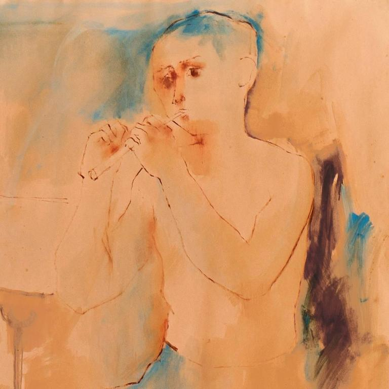 Young Flute Player - Orange Figurative Art by Julio Castillo