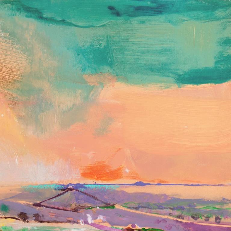 'Monterey at Sunset', California Post-Impressionist Landscape - Brown Landscape Print by John Maxon