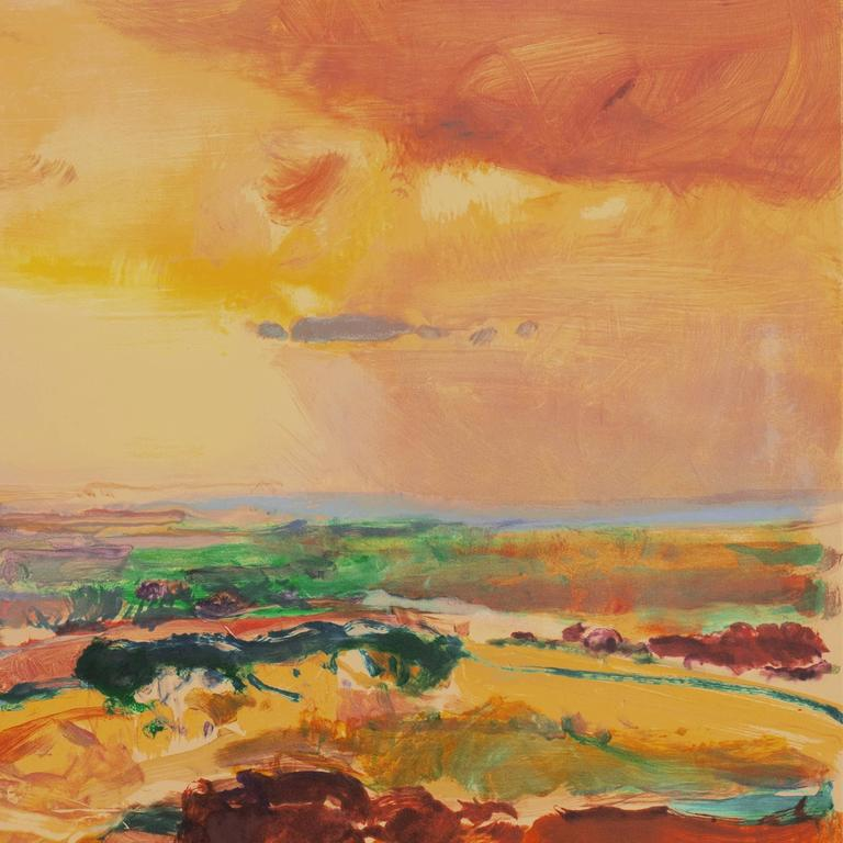 'Monterey at Sunset', California Post-Impressionist Landscape, San Jose  - Brown Abstract Print by John Maxon