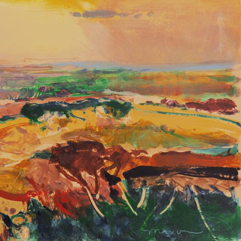 A very large, monotype landscape showing a view of the cultivated fields of Monterey County, California bathed in a radiant sunset light..  Signed lower right,
