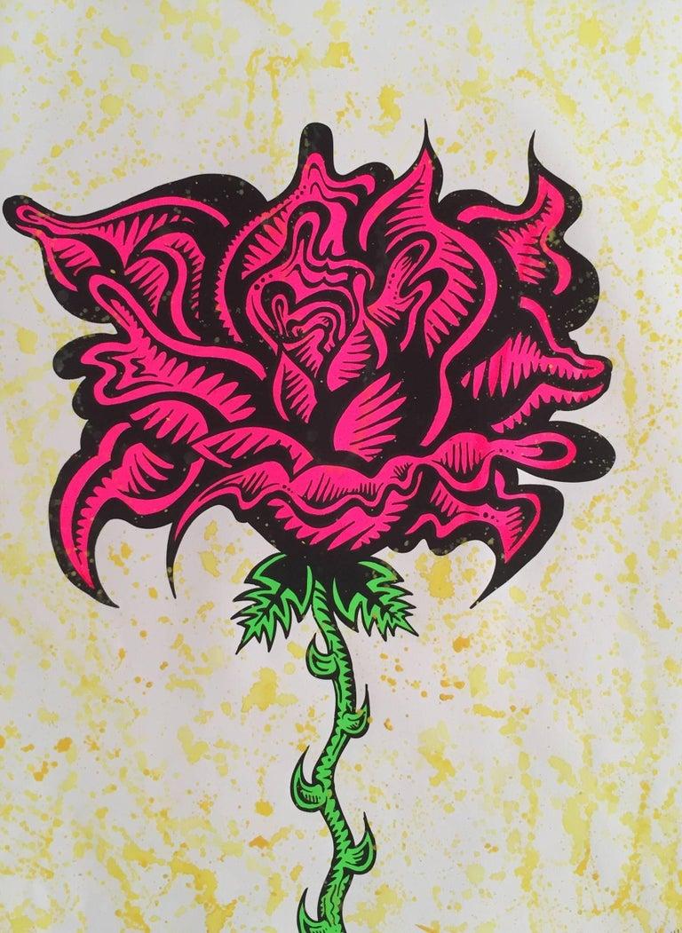 Hand Embellished Flower Screenprint - Print by Damon Johnson