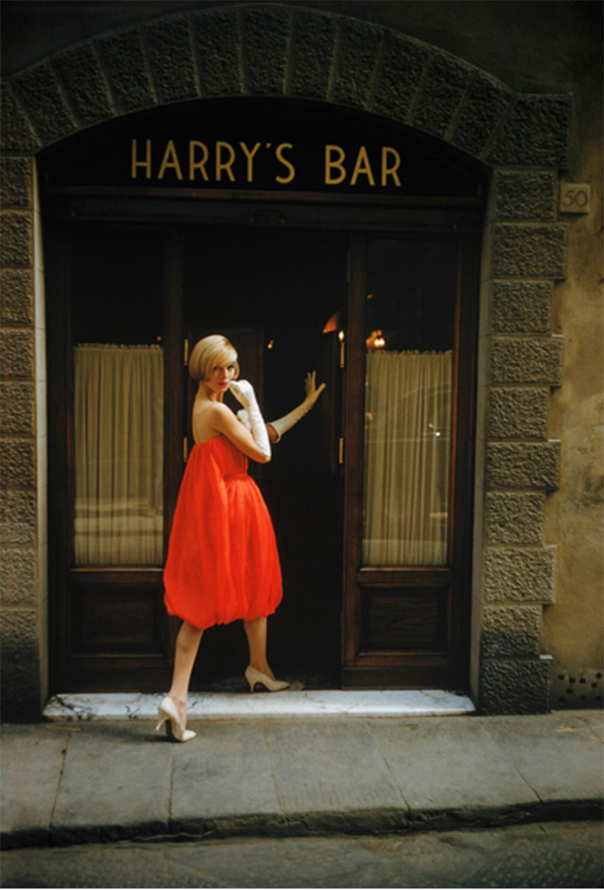 Mark Shaw - Fabiani Bag Dress Outside Harry's Bar in Paris 1