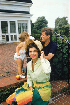 Jacqueline Kennedy, JFK, and Caroline Kennedy in Hyannis Port