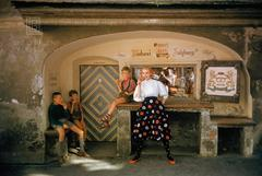 Model in Salzberg Bakery with Three Boys, 1956