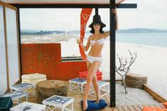 White Bikini in St. Tropez Beach Cabana 1961