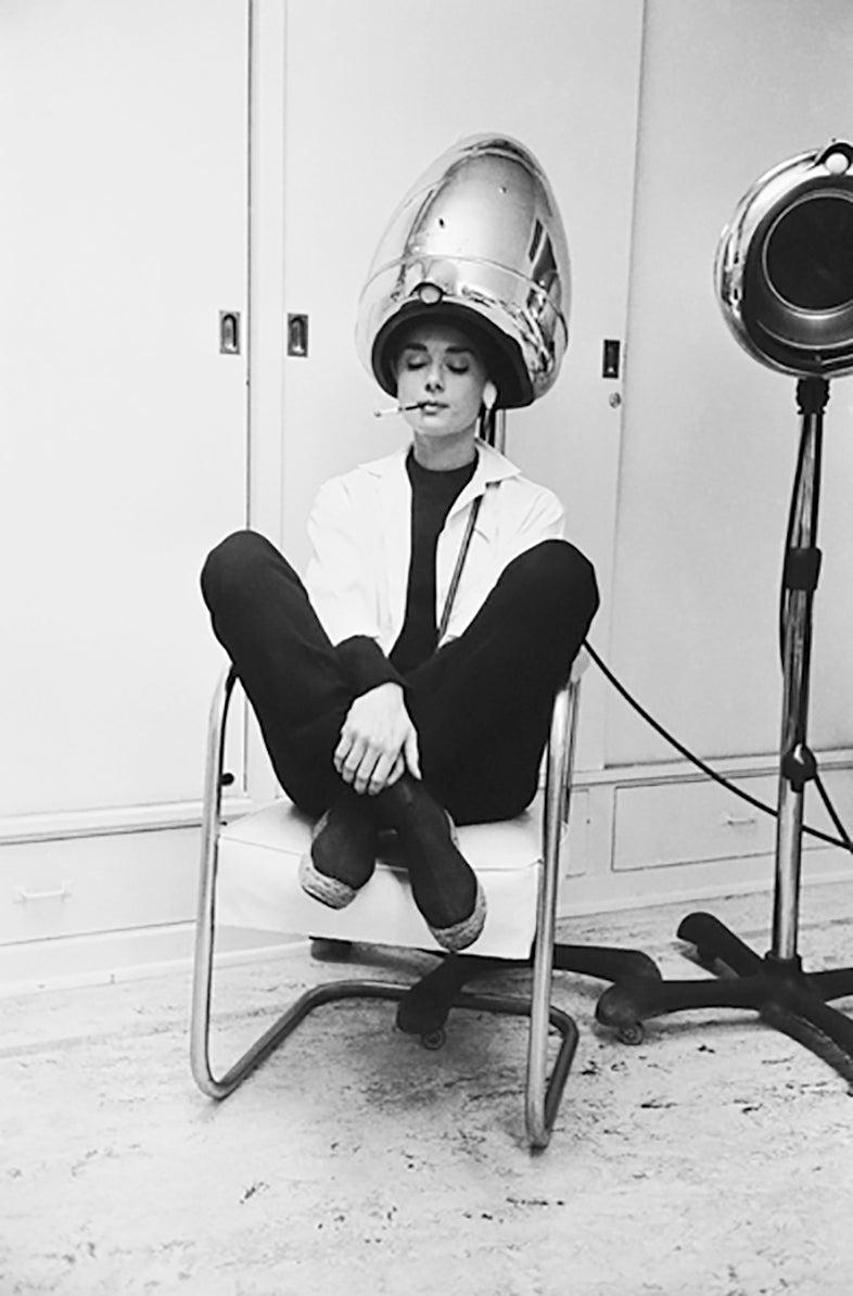 Mark Shaw Audrey Hepburn Smoking Under A Hair Dryer 1953