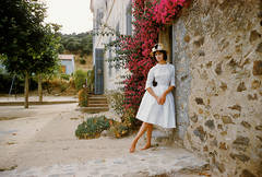 St. Tropez Model in White Eyelet Dress, 1961