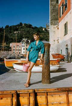 Elsa Martinelli Wearing Teal in Portofino, 1955