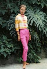 Mrs. Alfred Gwynne Vanderbilt in Her Garden Wearing Tiger Morse, 1962