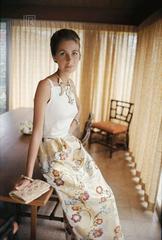 Mrs. Alfred Gwynne Vanderbilt Wearing Tiger Morse at Home, 1962