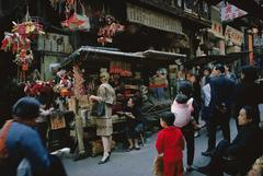 Tiger Morse Shops the Street Market #3, Hong Kong, 1962