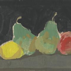 Lemon, Pears, and Apple on a Black Background