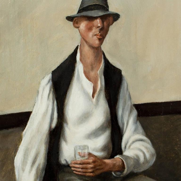 Carl E. Pickhardt Jr. Figurative Painting - Man with a Drink,