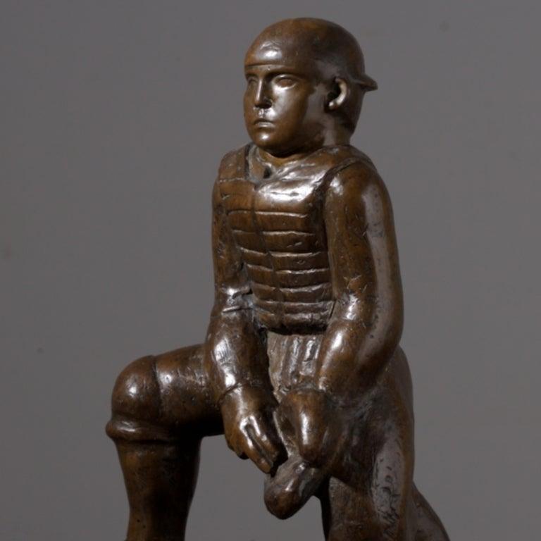 William Zorach Figurative Sculpture - Baseball Catcher
