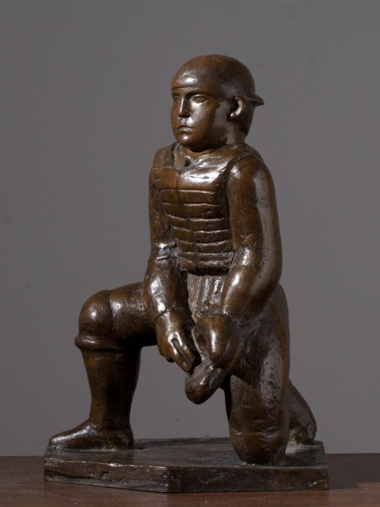 Baseball Catcher - Sculpture by William Zorach