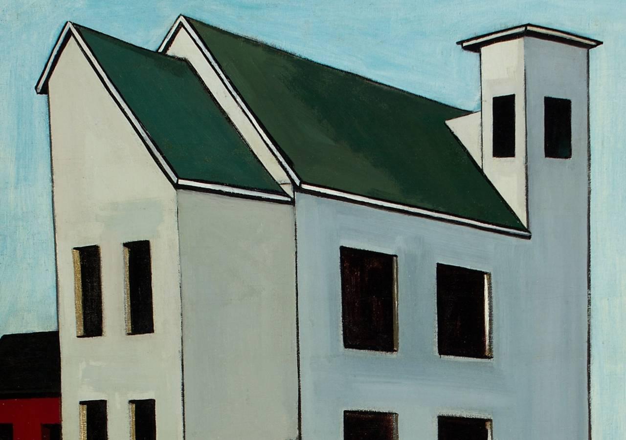 The Factory - Black Landscape Painting by Gregorio Prestopino