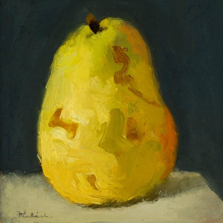 Robert Kulicke - Yellow Pear on a Black Background, Painting For ...