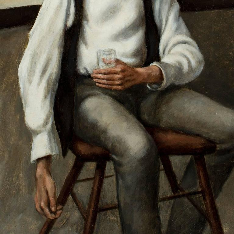 Man with a Drink, - American Modern Painting by Carl E. Pickhardt Jr.