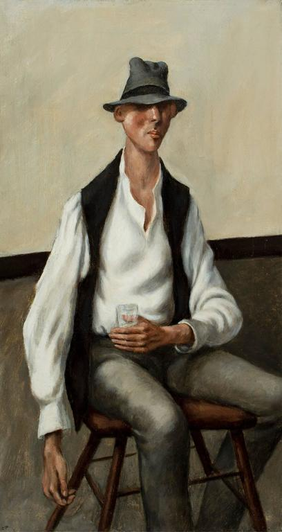Man with a Drink, - Painting by Carl E. Pickhardt Jr.